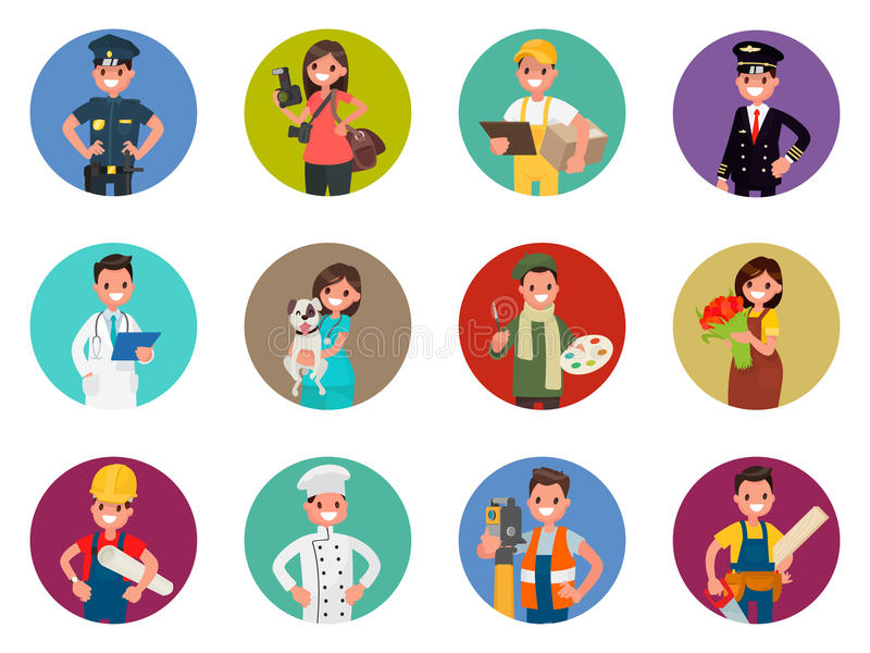 Set avatars charaktery różni zawody: policjant, fotograf, kurier, pilot, lekarka i inny, Wektorowy illustrati royalty ilustracja