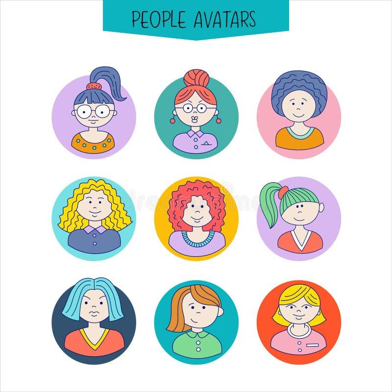 Set avatars dziewczyn różne fryzury Pociągany ręcznie ilustracji