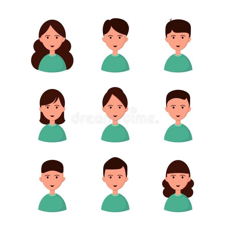 Set avatars. Girls and boys. Set avatars Girls and boys kids boys, girls emotion,  faces royalty free illustration
