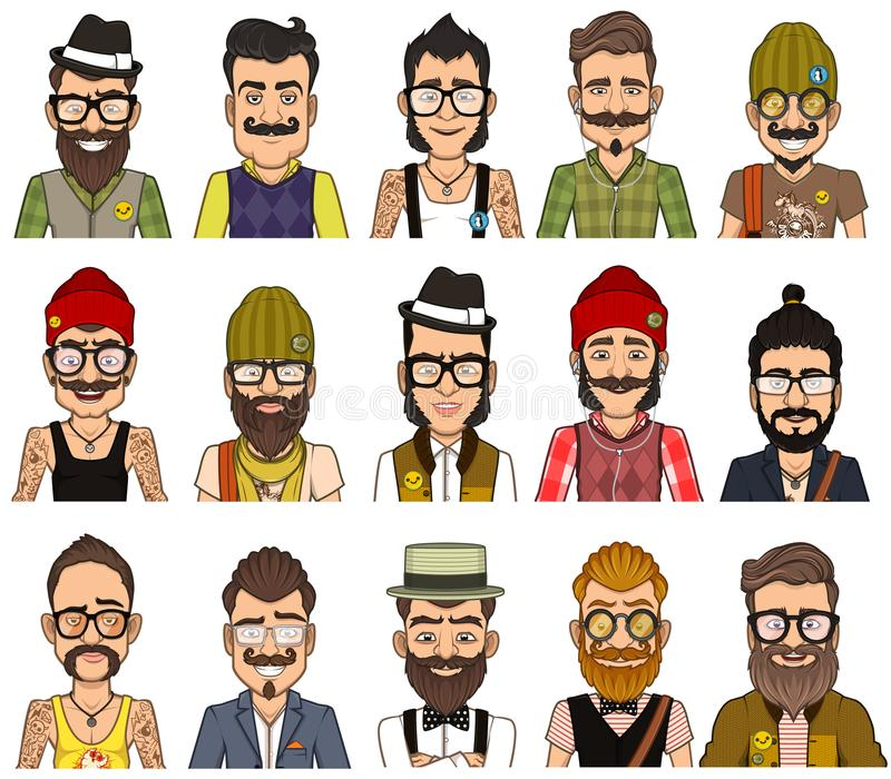 Set of avatars hipsters royalty free stock images