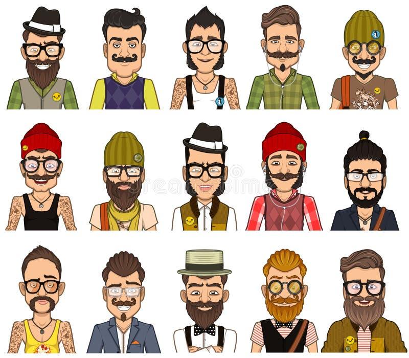 Set of avatars hipsters vector illustration