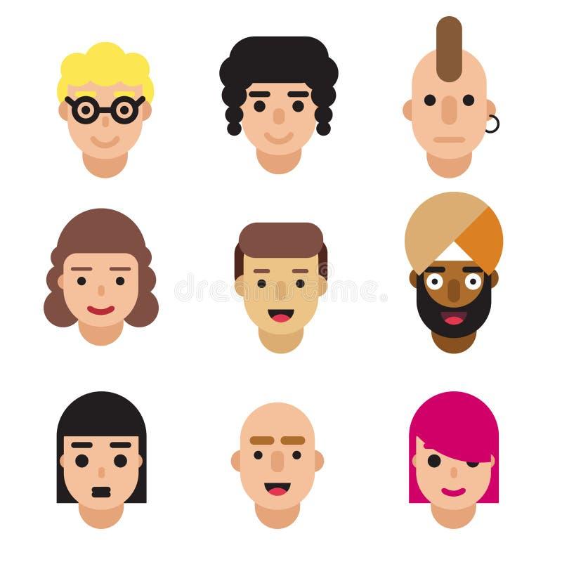 Set avatars odizolowywający na białym tle Różni narodowości, odzieżowych i włosianych style, Śliczna nowożytna płaska kreskówka royalty ilustracja