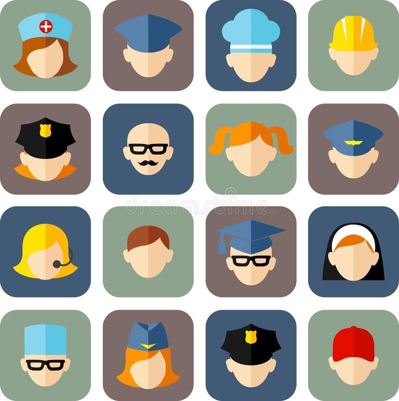 Set of avatars people icons. Flat style vector royalty free illustration