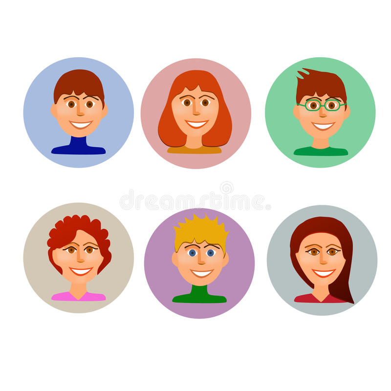 Set of avatars peoples in colorful style. vector illustration