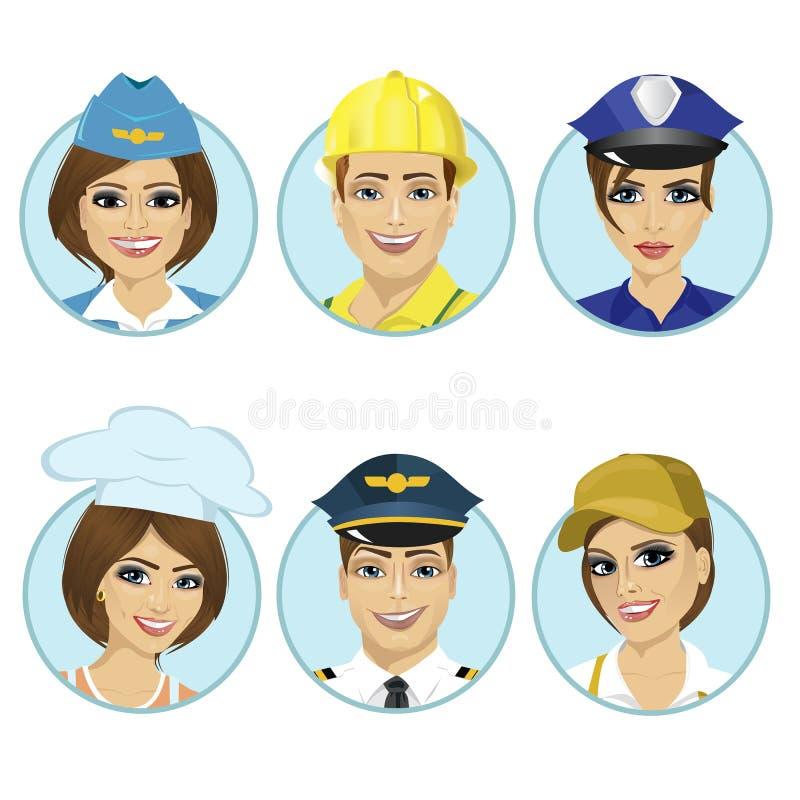 Set avatars, pracujący mężczyzna, stewardesa, policjantka, szef kuchni, pilot na białym tle ilustracji