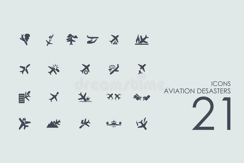 Set of aviation desasters icons vector illustration
