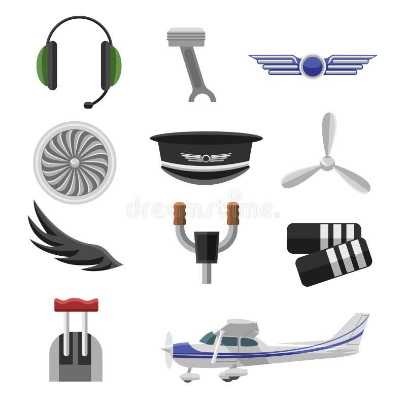 Set of aviation icons. Small aviation symbols and elements flat design. Set of aviation icons. Small aviation symbols and elements. Vector badges illustration stock illustration