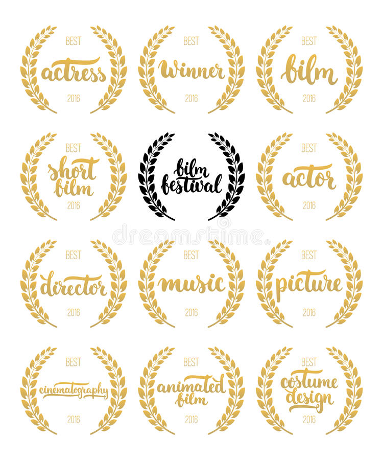Set of awards for best film, actor, actress, director, music, picture, winner and short film with wreath and 2016 text. Black and. Golden color film award royalty free illustration