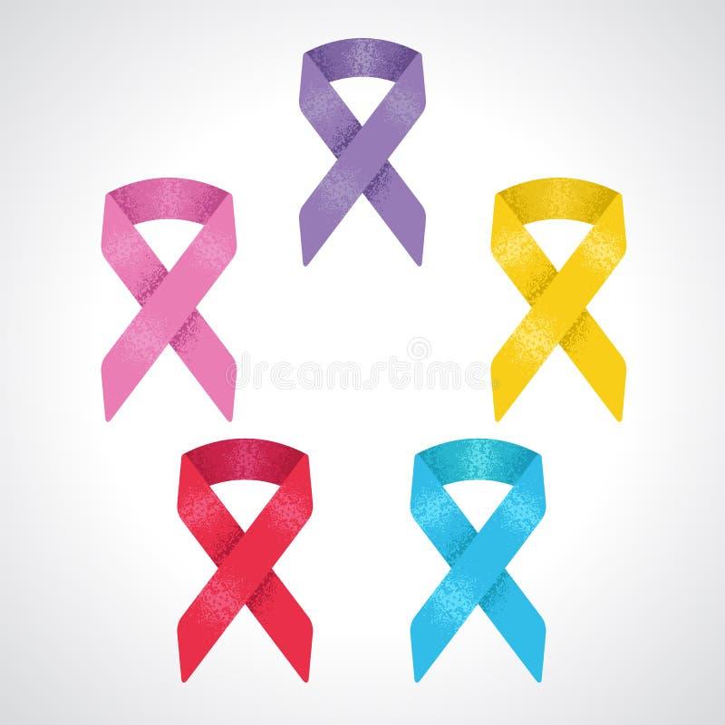 Set of 5 awareness ribbon symbol of World Cancer Day, Breast Cancer, Children cancer, Prostate Cancer, World Aids Day. Set of five awareness ribbon symbol of stock illustration