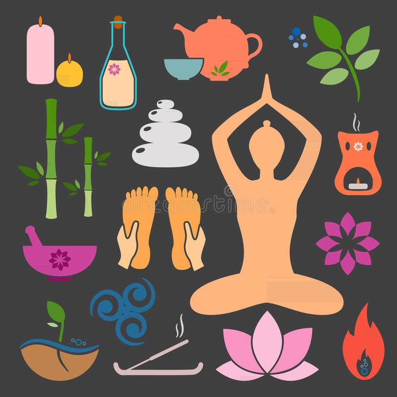 Ayurveda icons. Set ayurveda icons. Vector illustration. Ayurveda logos . Design elements for ayurveda center, yoga studio, spa center. Ayurveda sticker. Beauty royalty free illustration