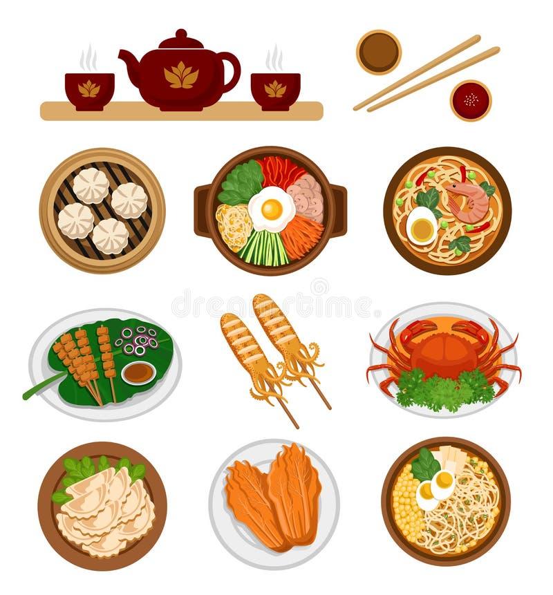 Set Azjatycki jedzenie Chińska i Koreańska kuchnia royalty ilustracja