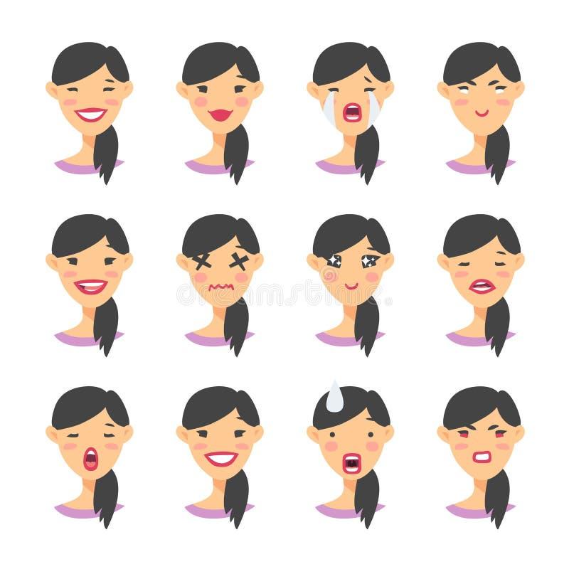 Set azjatykci emoji charakter Kreskówki emoci stylowe ikony Odosobneni dziewczyn avatars z różnymi wyrazami twarzy Płaski illustr ilustracja wektor