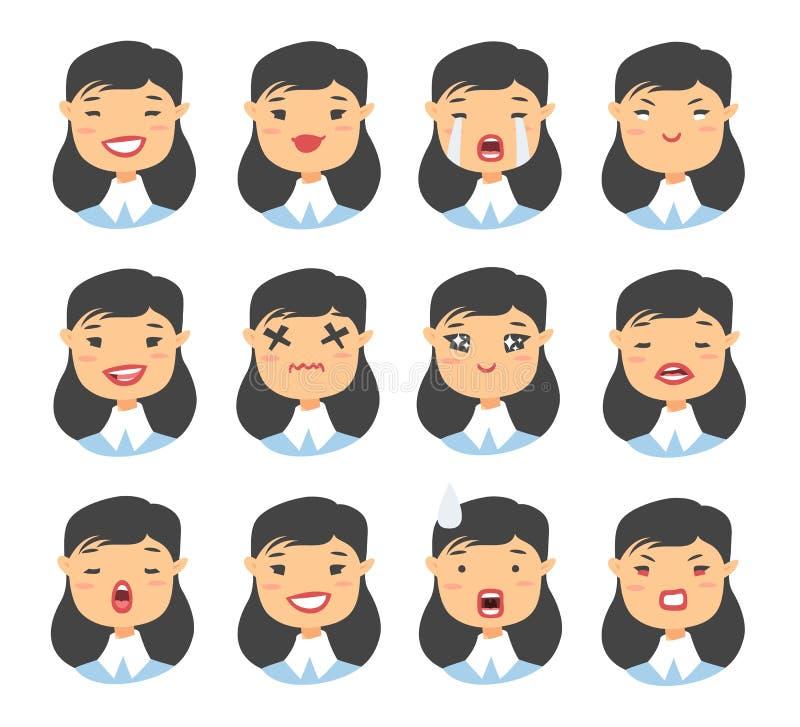 Set azjatykci emoji charakter Kreskówki emoci stylowe ikony Odosobneni dziewczyn avatars z różnymi wyrazami twarzy Płaski illustr ilustracji