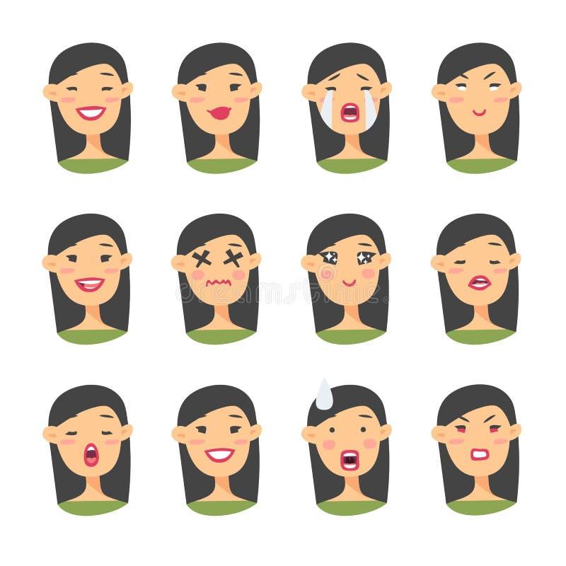 Set azjatykci emoji charakter Kreskówki emoci stylowe ikony Odosobneni dziewczyn avatars z różnymi wyrazami twarzy Płaski illustr royalty ilustracja