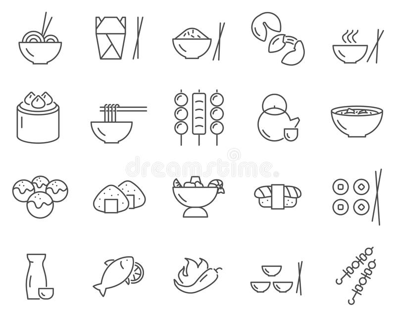 Set azjatykcie jedzenie linii wektoru ikony ilustracji