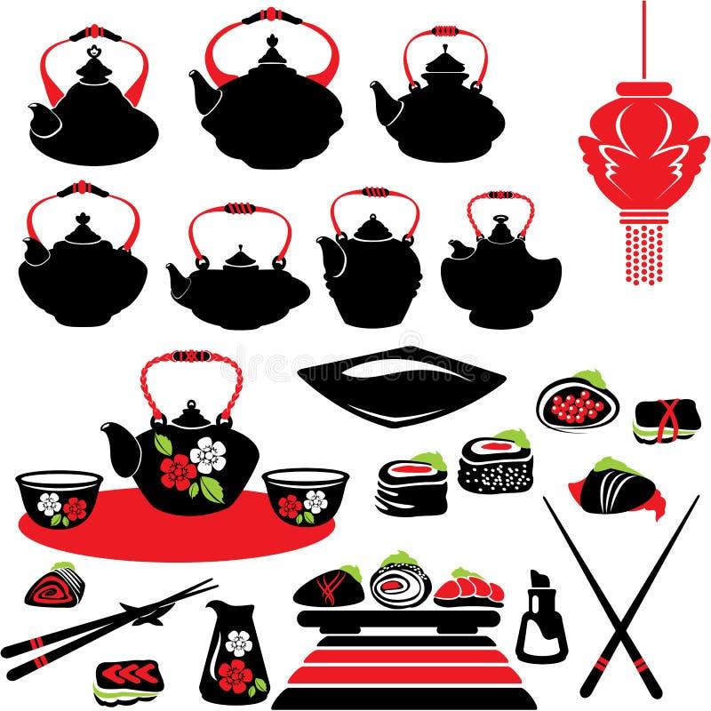 Set azjatykcie karmowe ikony - teapot, suszi. royalty ilustracja