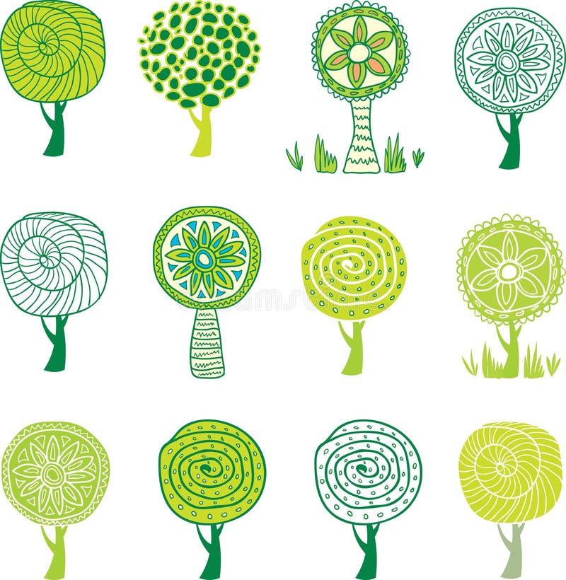 Set Bäume. stock abbildung