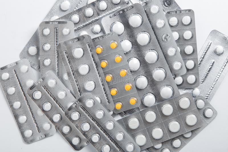Set bąbel paczki pigułki na białym tle zdjęcia royalty free