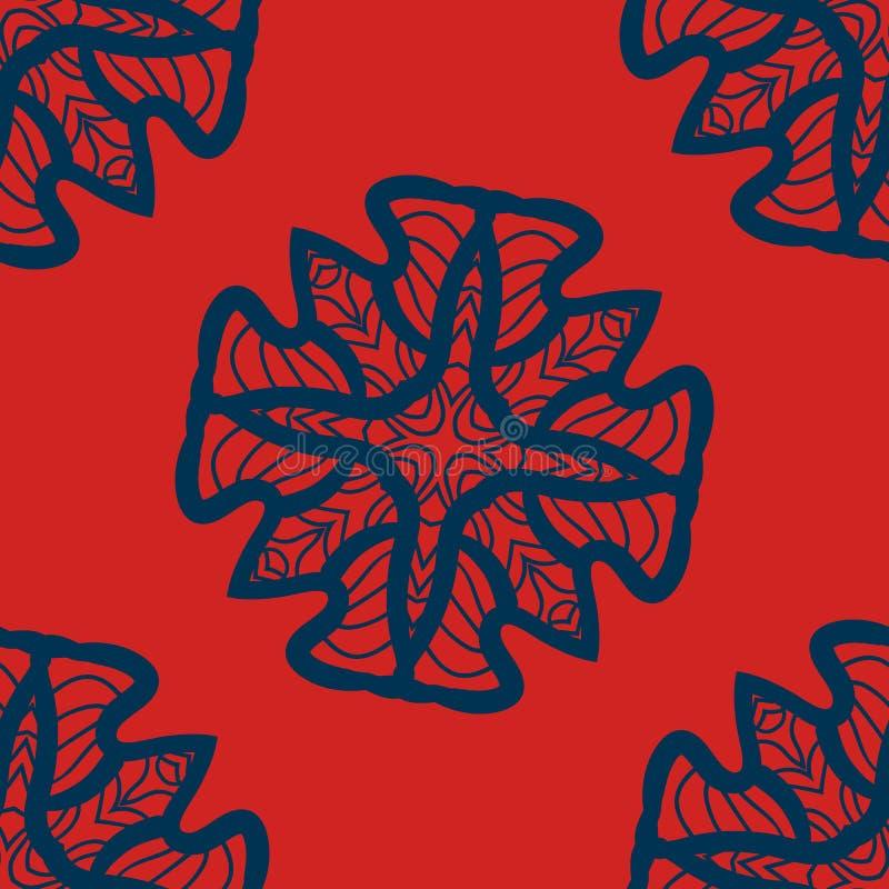 Set błękit na czerwonych mandalas bezszwowych Dekoracyjni symetria ornamenty Stres terapii wzór Wyplata projekt taflującego ilustracja wektor