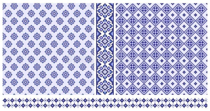 Set błękita krzyża zaszyci wzory i granicy royalty ilustracja