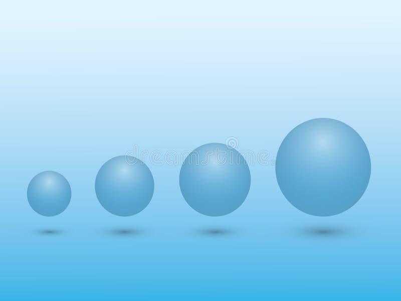 Set błękitna sfera od małego duży wielkościowy znaczenie przyrost na błękitnym tle ilustracja wektor