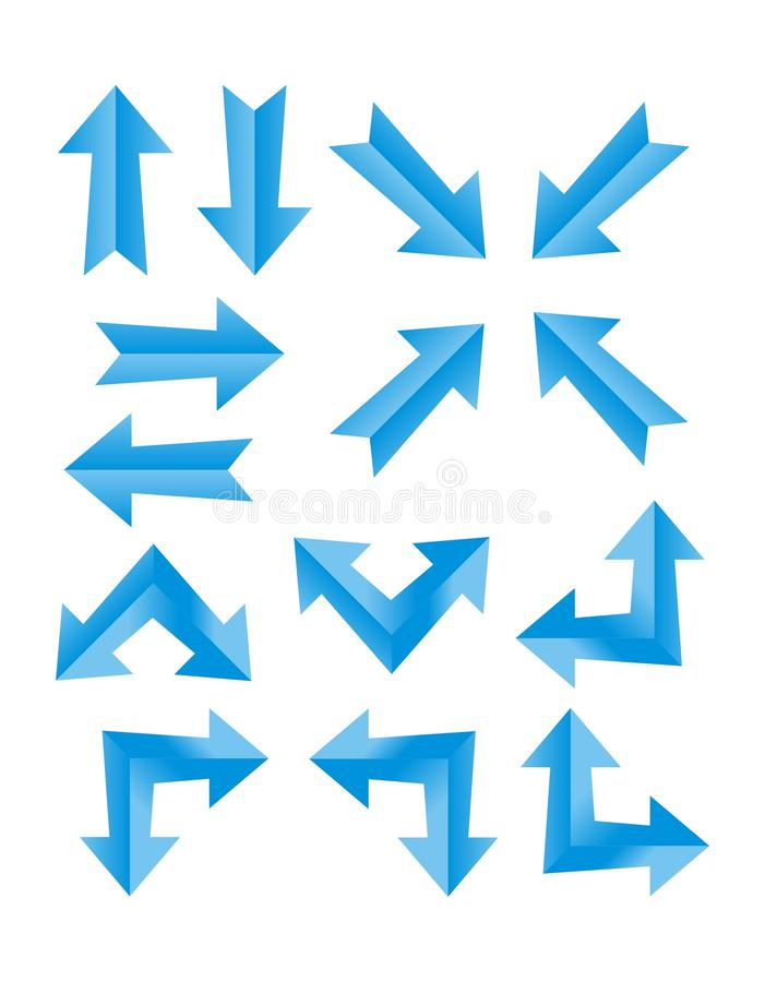 Set błękitna strzała ilustracja wektor