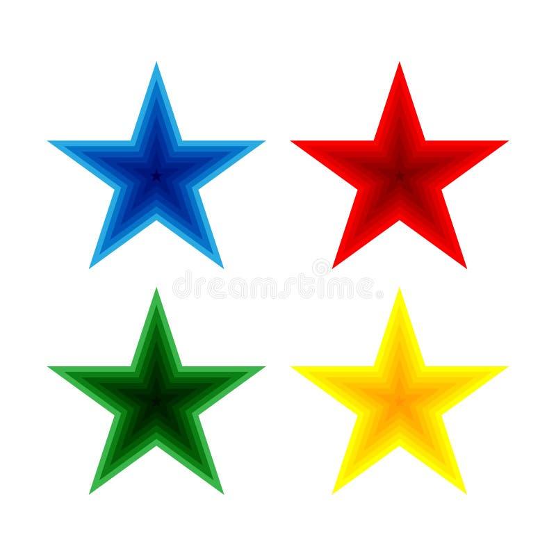 Set błękitne, czerwone, zielone i kolor żółty gwiazdy, ilustracji