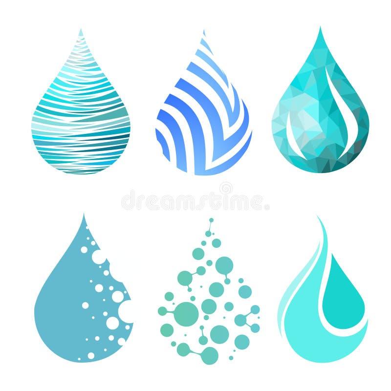 Set błękitne jaskrawe różne wody kropli ikony ilustracji