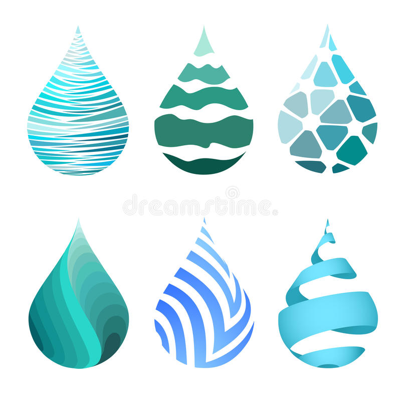 Set błękitne jaskrawe różne wody kropli ikony royalty ilustracja