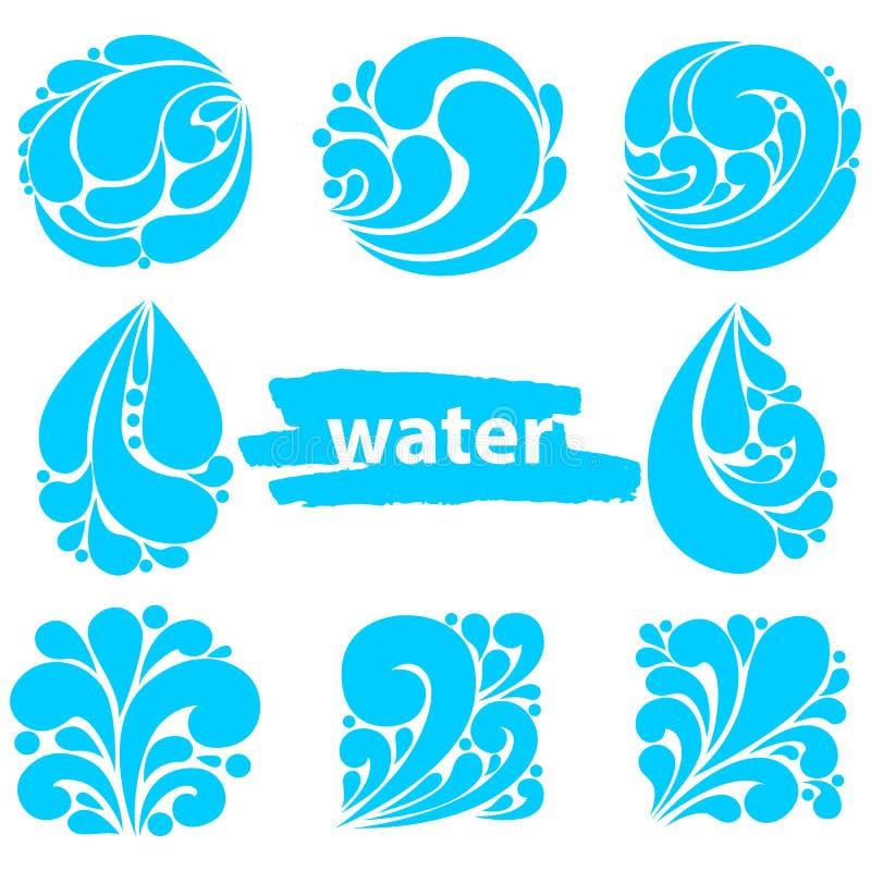 Set błękitne jaskrawe różne wody kropli ikony Wodny opadowy logo ilustracja wektor