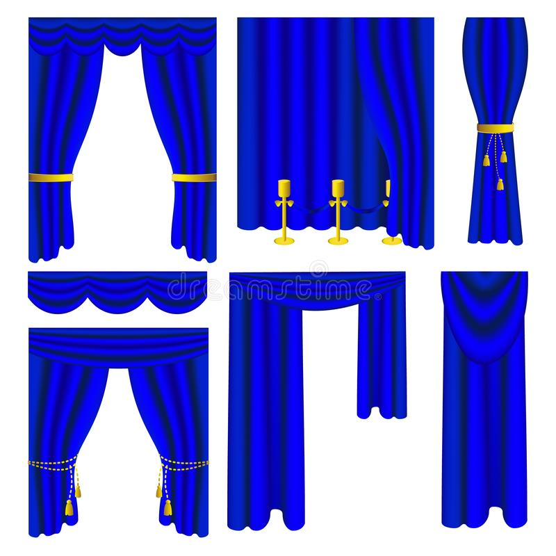 Set błękitne luksusowe draperie i zasłony ilustracja wektor