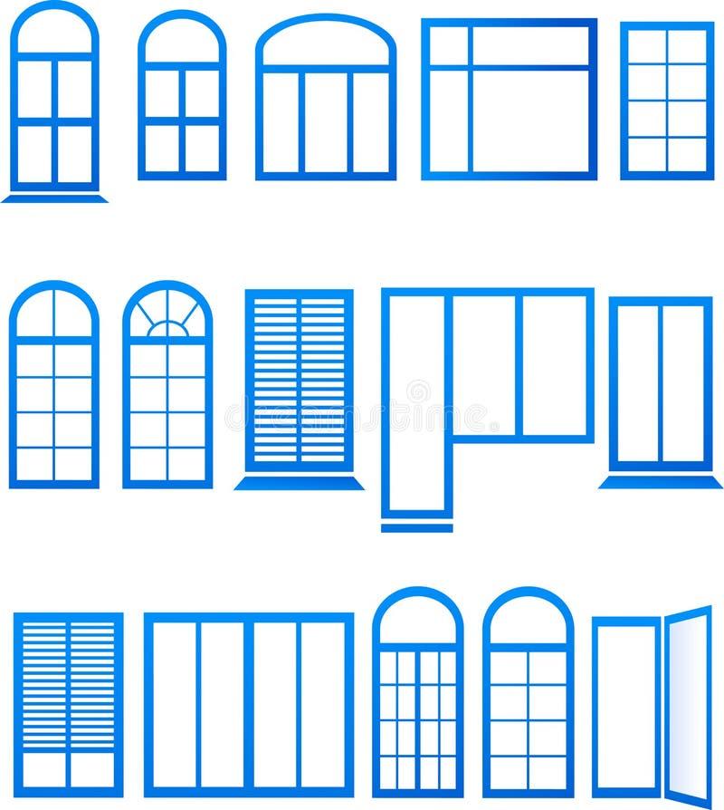 Set błękitne nadokienne ikony ilustracja wektor