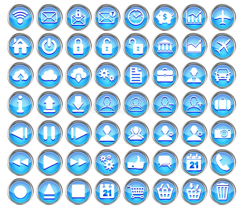 Set błękitne sieci, multimedii i biznesu ikony, ilustracja wektor