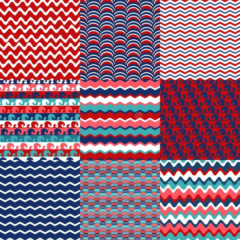 Set błękitnego, czerwonego i białego morza fala bezszwowi wzory, ilustracja wektor