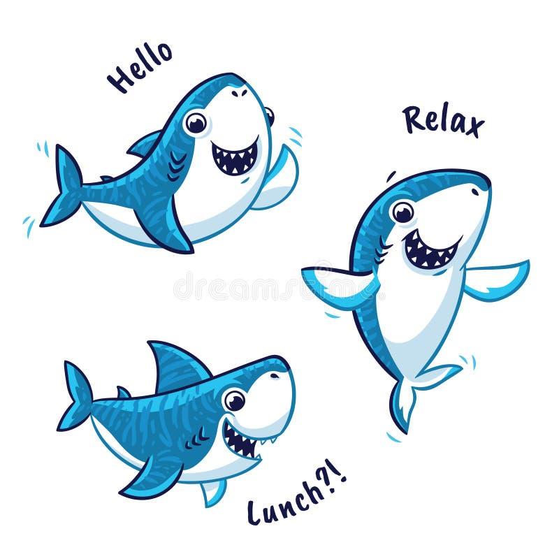 Set błękitnego rekinu postać z kreskówki odizolowywający na białym tle royalty ilustracja