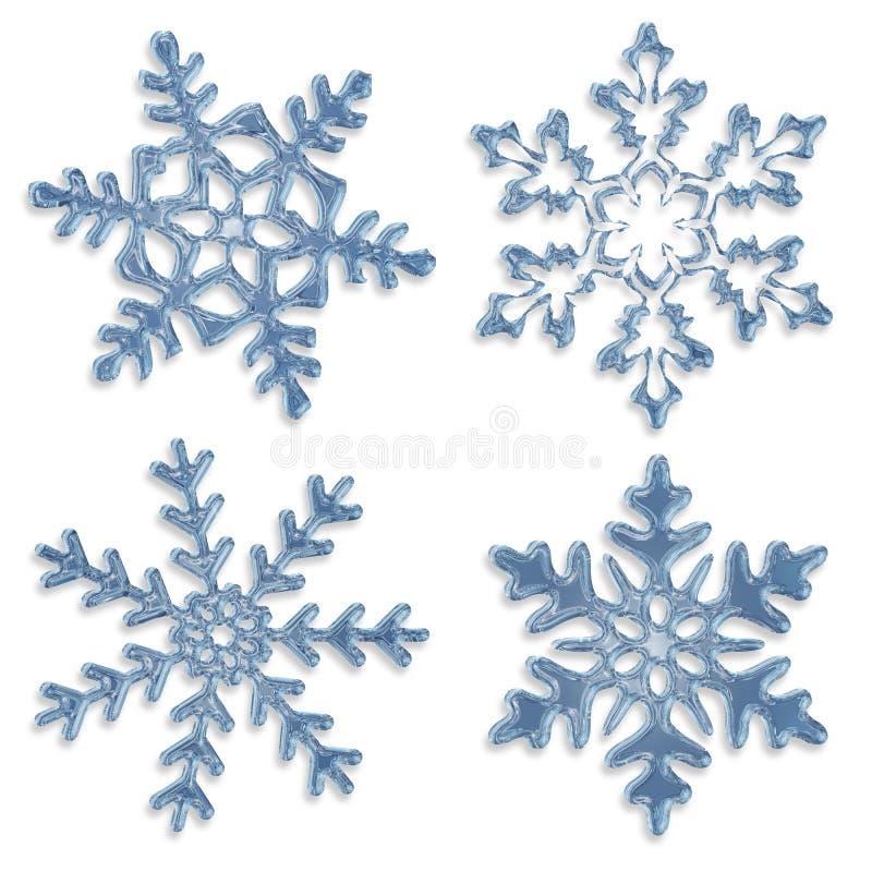 Set błękitni lodowaci płatki śniegu ilustracja wektor
