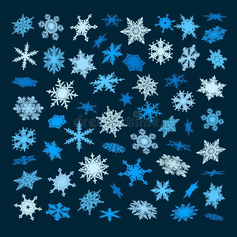Set błękitni płatek śniegu spada w innej perspektywie, kąty, kierunki odizolowywający na ciemnym tle Boże Narodzenia, Nowi ilustracja wektor