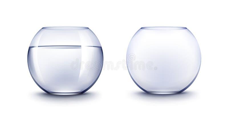 Set Błękitni Przejrzyści Gładcy Szklani Fishbowls akwaria z wodą ilustracja wektor