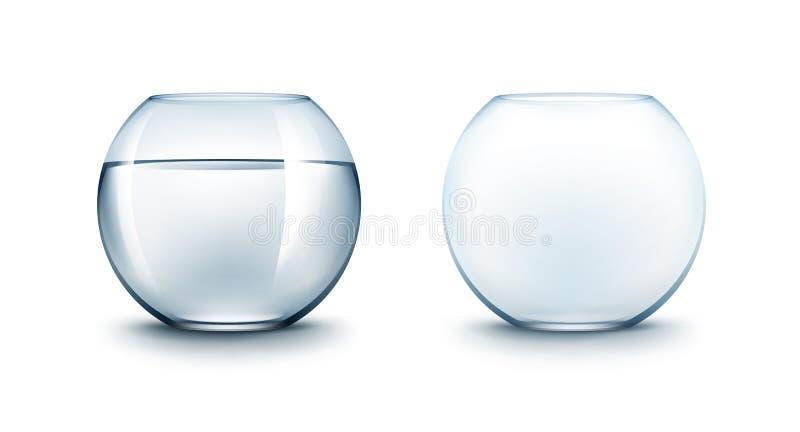 Set Błękitni Szklani Fishbowls akwaria bez ryba ilustracja wektor