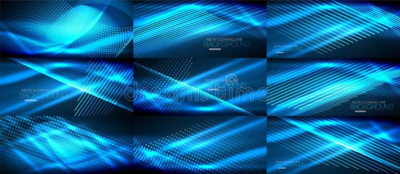 Set błękitny neonowy gładzi falowych cyfrowych abstrakcjonistycznych tła ilustracja wektor