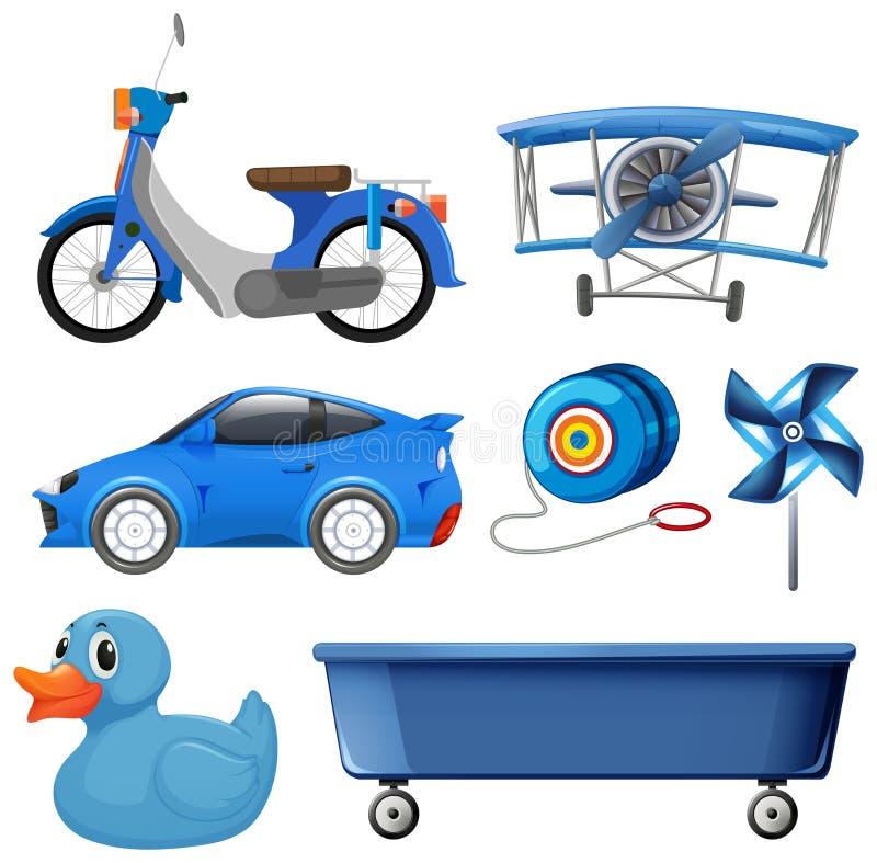 Set błękitny przedmiot ilustracja wektor