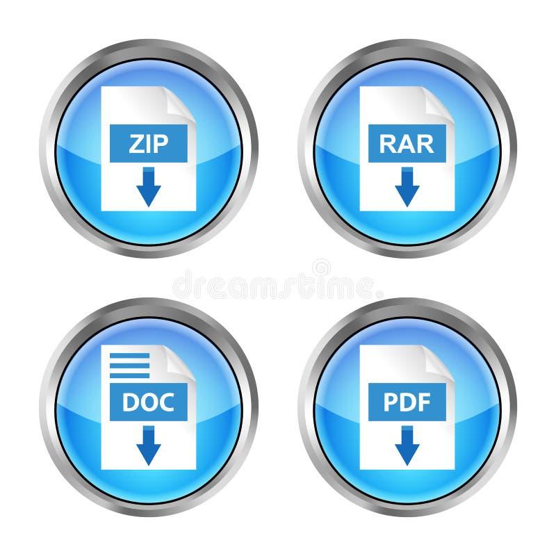 Set błękitny rar, zamek błyskawiczny, doc i pdf, ściągamy ikony na białym plecy royalty ilustracja
