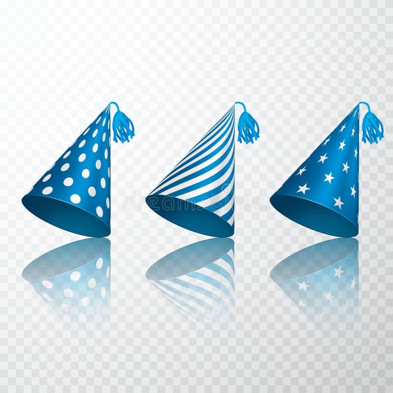 Set Błękitny Urodzinowy kapelusz Urodziny papieru rożka nakrętki set Wektorowa ilustracja odizolowywająca na przejrzystym tle ilustracja wektor