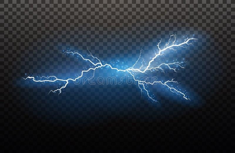 Set błyskawicowa magia i jaskrawi lekcy skutki również zwrócić corel ilustracji wektora Rozładowanie elektryczny prąd Ładunku prą fotografia stock