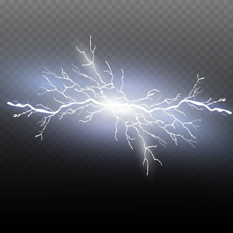 Set błyskawicowa magia i jaskrawi lekcy skutki również zwrócić corel ilustracji wektora Rozładowanie elektryczny prąd ilustracja wektor