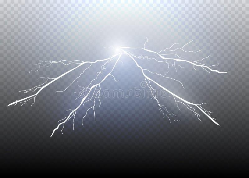 Set błyskawicowa magia i jaskrawi lekcy skutki również zwrócić corel ilustracji wektora Rozładowanie elektryczny prąd royalty ilustracja
