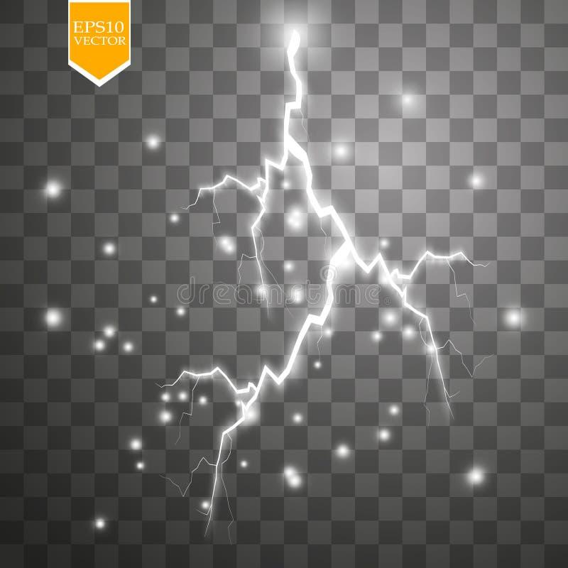 Set błyskawicy Burza i błyskawicy Magiczni i jaskrawi oświetleniowi skutki ilustracja wektor