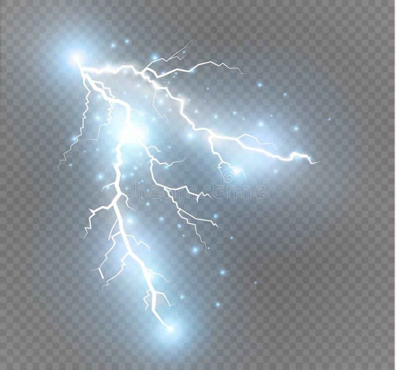 Set błyskawicy Magiczni i jaskrawi oświetleniowi skutki royalty ilustracja