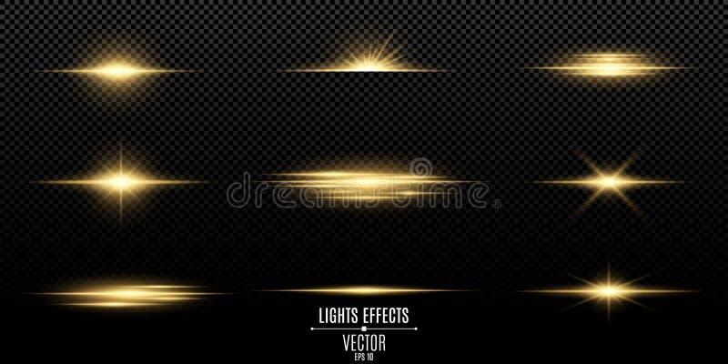 Set błyski, światła i iskry, Abstrakcjonistyczni złoci światła odizolowywający na przejrzystym tle Jaskrawi złoto świecenia i bły royalty ilustracja