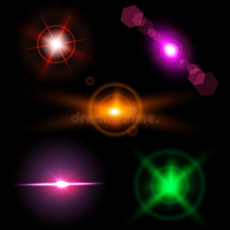 Set błyskotań światła z przezroczystość skutkami Kolekcja piękni jaskrawi obiektywów racy royalty ilustracja